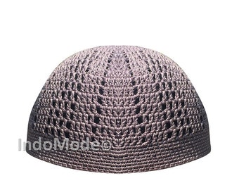 0ccfbdfa318 Skull Cap Kufi Cotton Blue Grey Tight   Loose Weave Design Crochet Knit  Head Cover - SHIPS FROM INDONESIA