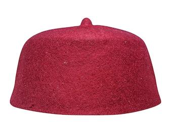 00f997dc112 Maroon 100% Wool Felt Moroccan-style Fez Muslim Hat with Tip Islamic Kufi  Prayer Cap Topi