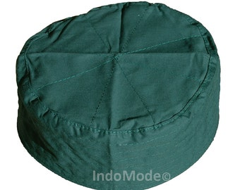 Dark Green Flat Simple Stitch Design Cloth Kufi Namaz Cap 25bab9e303f7