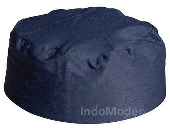 Dark Brown Pleated-top Solid Color Fabric Kufi Prayer Scul Cap  b99802c21726