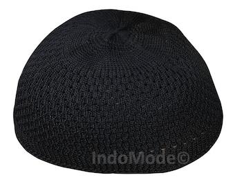 f01ec83ac29 Nylon Black Open-weave Kufi Prayer Cap Muslim Hat