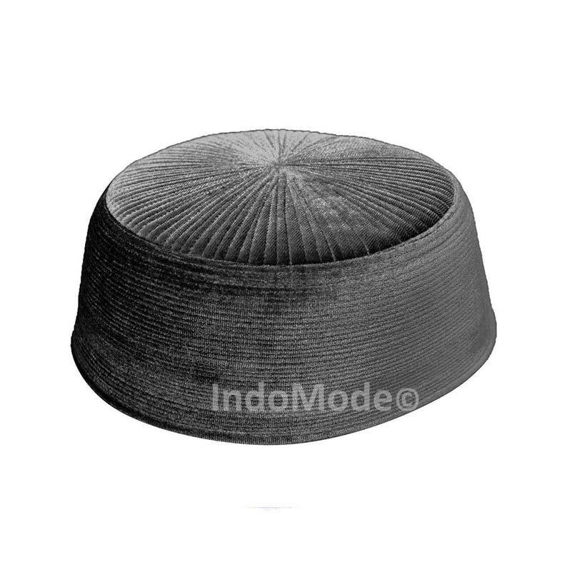 Dark Gray Rigid Velvet Kufi Hat Turkish Chechen Style Takke  75ce4425150d