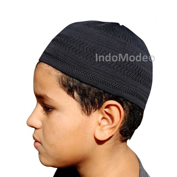 TheKufi Black Cotton Stretch-knit Kufi Hat Skull Cap Topi  03503a1fb154