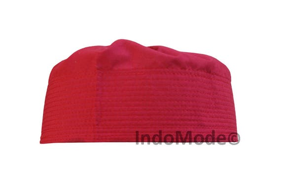 Maroon Pleated-top Solid Color Fabric Kufi Prayer Scul Cap  c6e366a96826