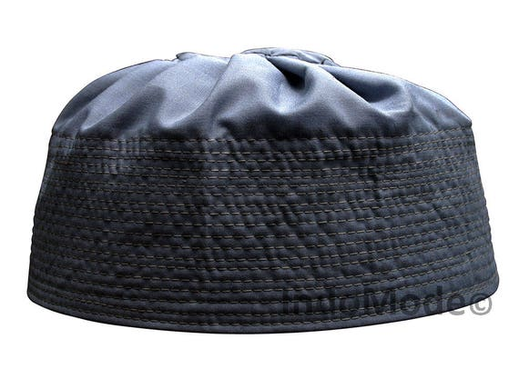 Dark Grey Pleated-top Solid Color Fabric Kufi Prayer Scul Cap Kufi Hat  Tabligh Topi 3c17e326328a