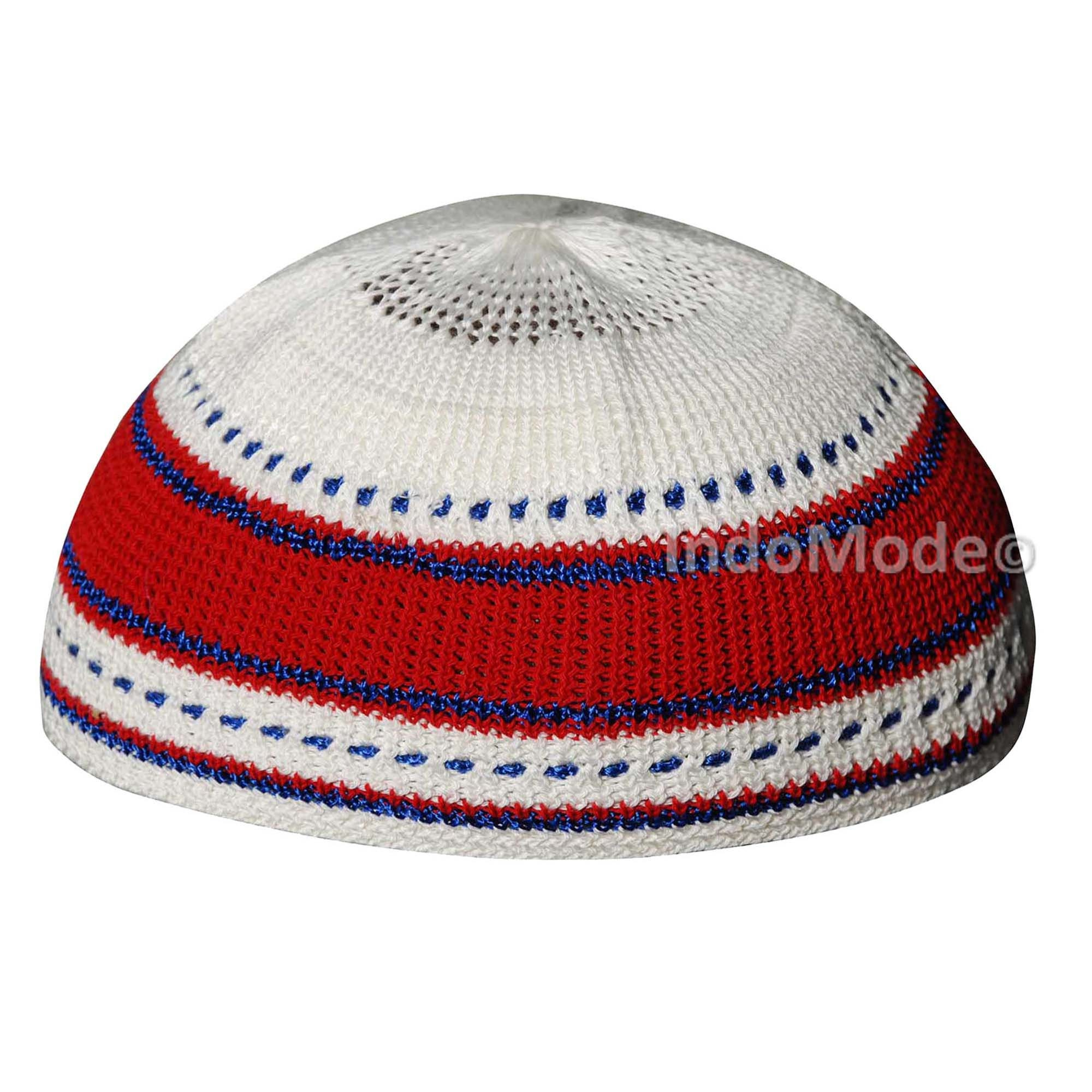 Red Blue Cream Cotton Stretch-knit Kufi Comfortable Fit  db7812e910e5