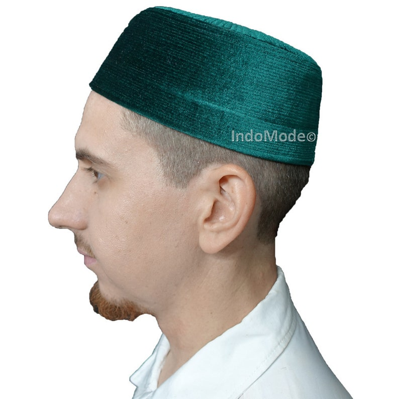 Velvet Kufi Hat  Dark Green Rigid Muslim Turkish image 0