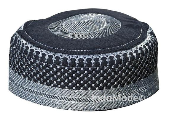 Black Metallic Silver Thread Islamic Padded Quilted Soft Kufi  8b5ed8bc24c5