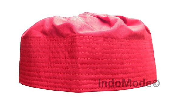 RED Pleated-top Solid Color Fabric Kufi Prayer Scul Cap Kufi Hat Tabligh  Topi 09668556e734