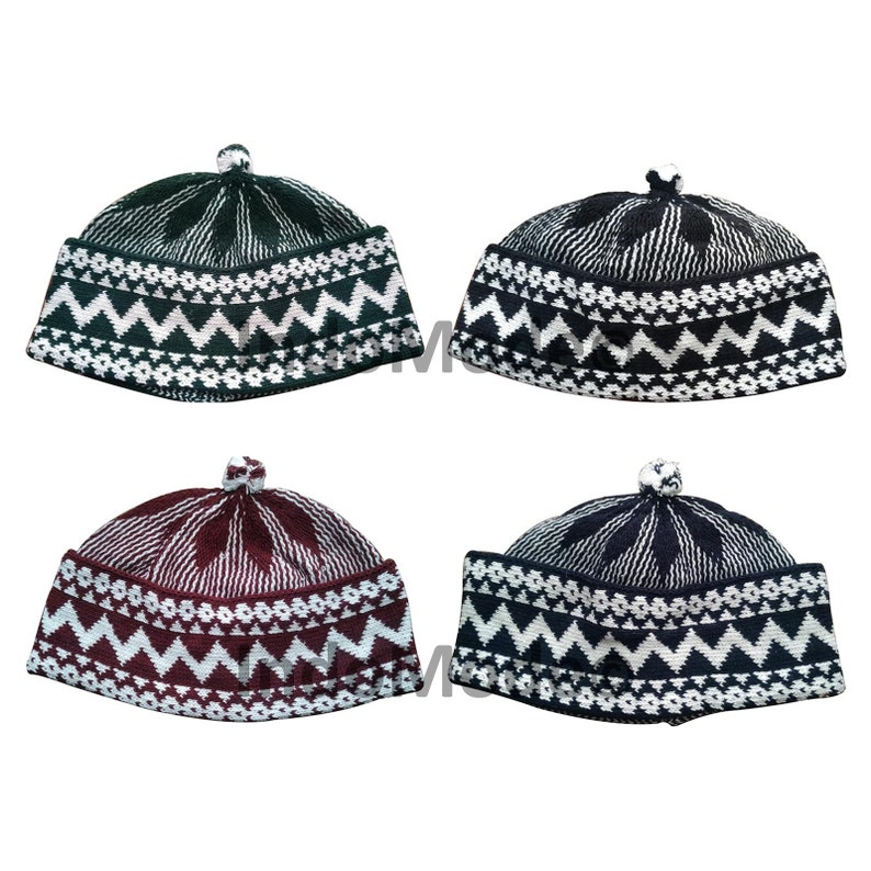 Beanie Kufi Caps with Ball on Top  Set of 4 Cotton-blend image 1