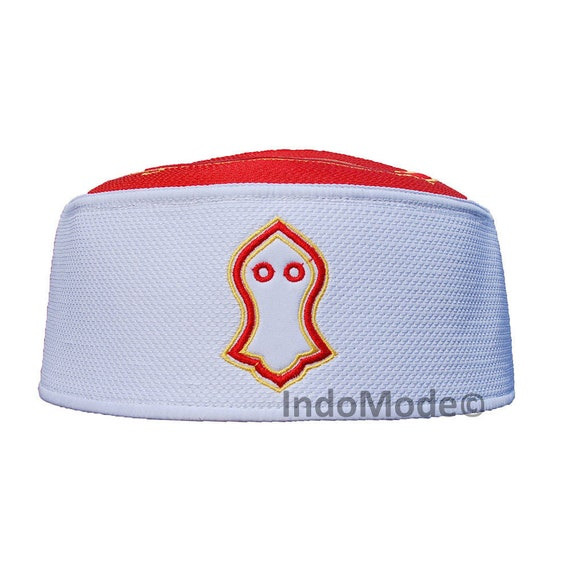 Exclusive Red White Golden Embroidered Sandal Kufi Crown Cap Muslim Hat b835878520a7