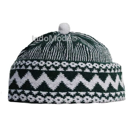 Warm Dark Forest Green Cotton Blend Zigzag Beanie Kufi Hat with Ball on Top  One-size Mens e43f5e4faae5