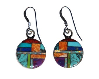 Southwestern Style Earrings - Round Handcrafted Inlay with Coral, Turquoise, Orange Spiny, Sugulite, Gaspite, Opal with Earwire GIFT BOXED