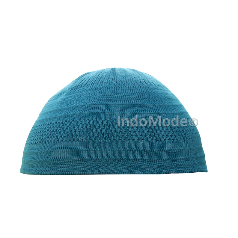 046f8e5919c TheKufi Teal Blue Cotton Stretch-knit Kufi Hat Skull Cap Topi
