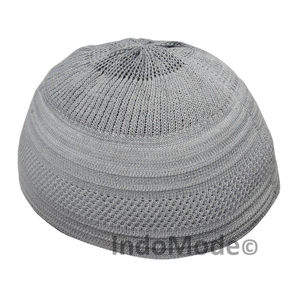 TheKufi Gray Cotton Stretch-knit Kufi Hat Skull Cap Topi  dfbdb05c3564