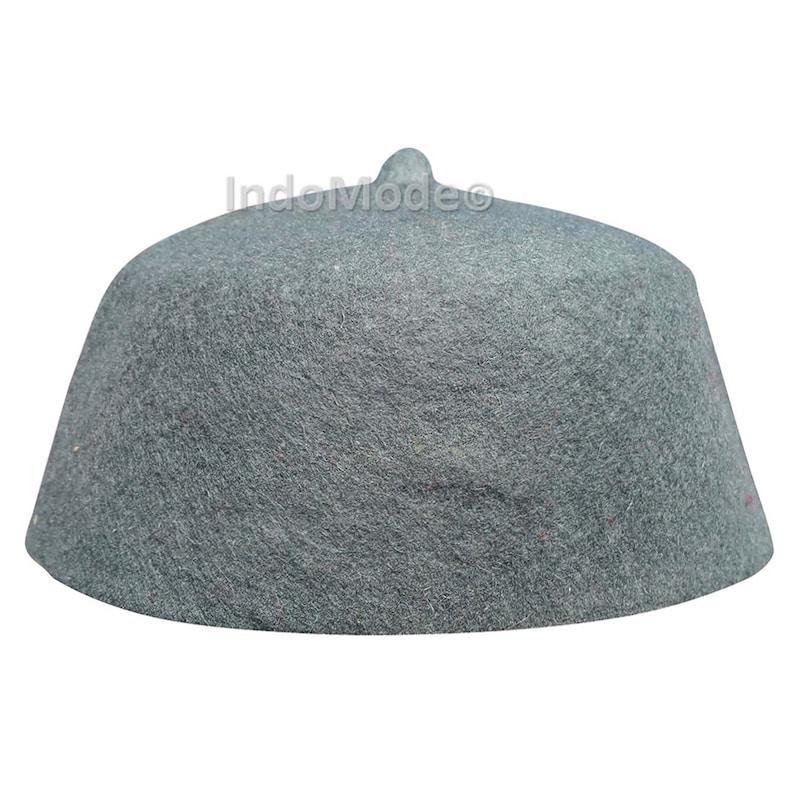 d51bdcb22 TheKufi® Grey 100% Wool Felt Moroccan-style Fez Muslim Hat with Tip Islamic  Kufi Prayer Cap Topi