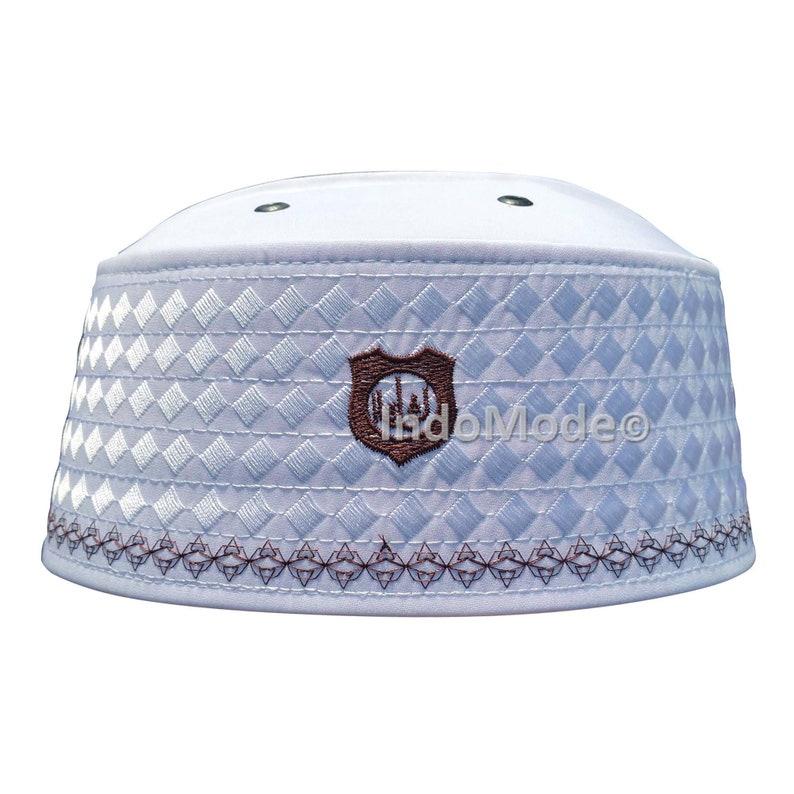 White Rigid Brown Embroidered Habaib Muslim Kufi Hat Skull Cap  1d5769a049dc