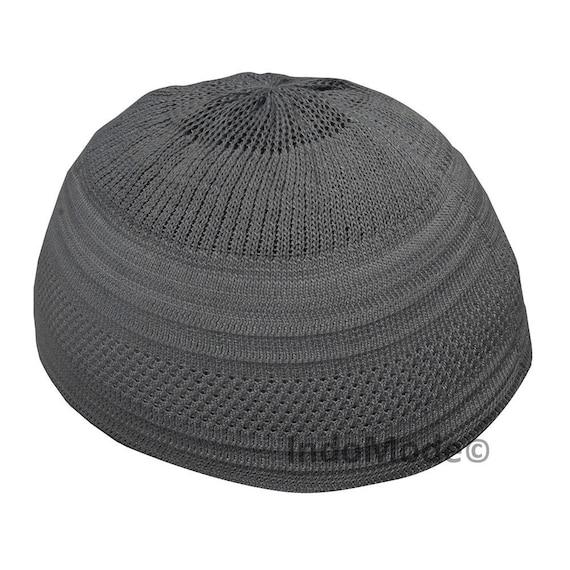 TheKufi Dark Grey Cotton Stretch-knit Kufi Hat Skull Cap Topi  dd0458e2f098