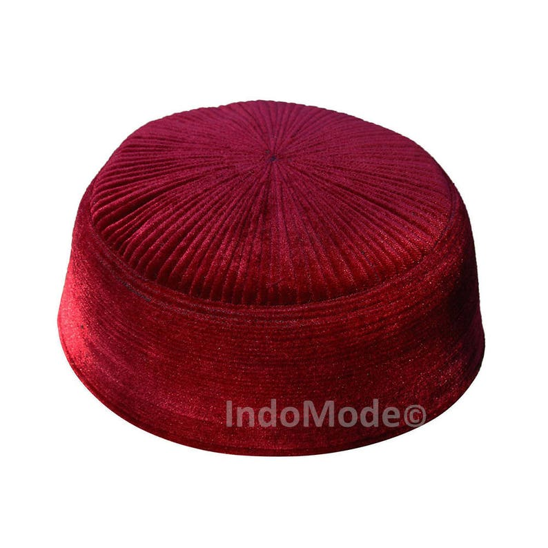 Maroon Rigid Velvet Kufi Hat Turkish Chechen Style Takke  af51064be36f