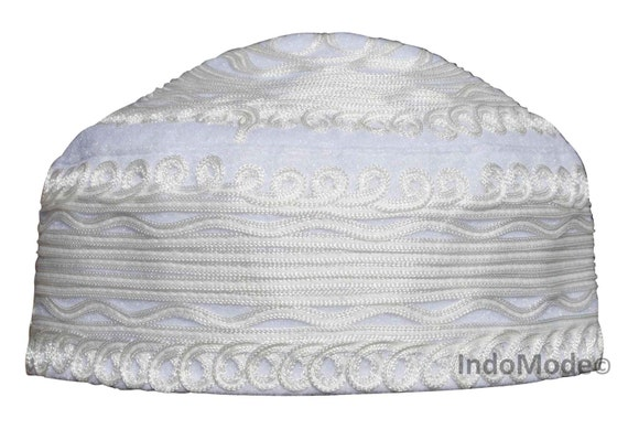 Handcrafted White Macrame Design Felt Kufi Hat e9ec1e574f7c