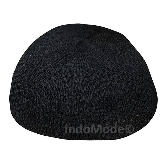 8f3ab3879ce Nylon Black Open-weave Kufi Prayer Cap Muslim Hat