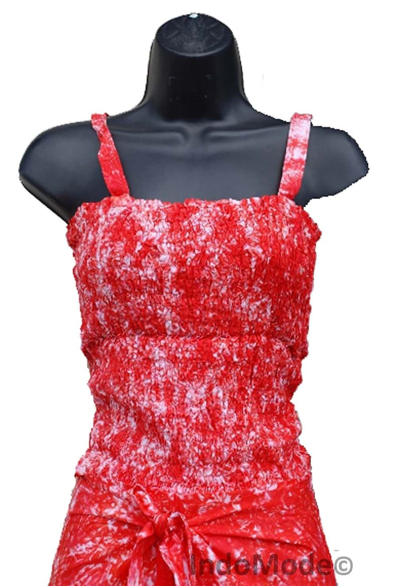 Red Tie-Dye Confortable Wrap Around Pants with FREE Shirred Top Summer Clothes
