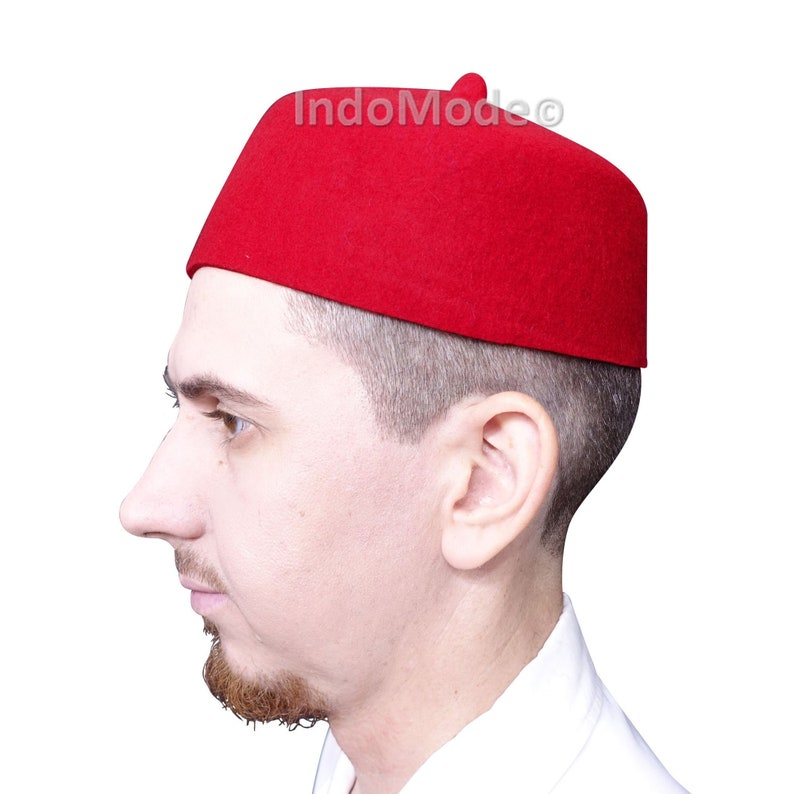 a02d39bd8 TheKufi® Red 100% Wool Felt Moroccan-style Fez Muslim Hat with Tip Islamic  Kufi Prayer Cap Topi