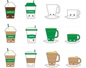 20 OFF SALE Cute Kawaii Coffee Clipart Clip Art Happy Cup Personal And Commercial Use