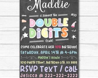 Double Digits Birthday Party Invitation 10th Invite Chalkboard Happy Modern