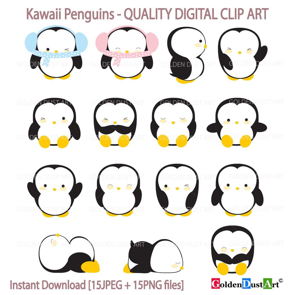 penguin clipart kawaii penguins clipart cute penguins etsy rh etsy com Clip Art Baby Penguin cute girl penguin clipart