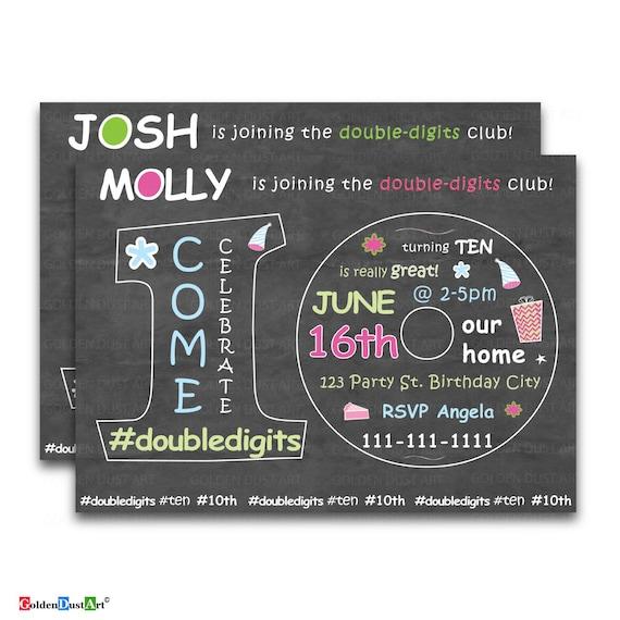 Double Digits Birthday Party Invitation 10th Invite