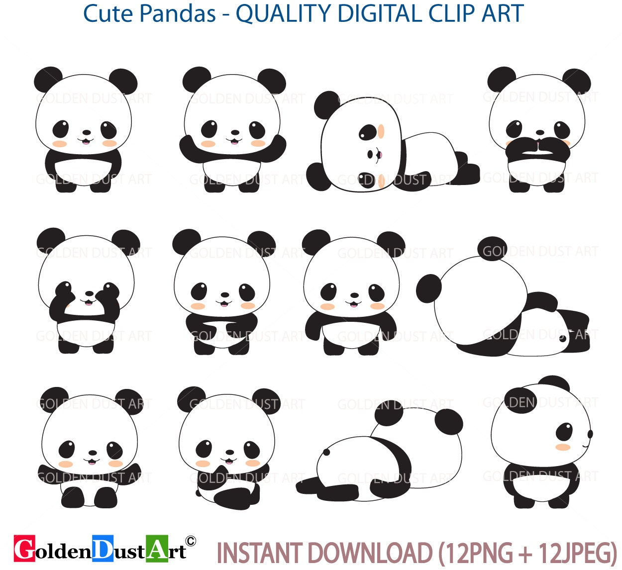 Panda Clip Art Panda Clip Art Panda Clipart Cute Panda | Etsy