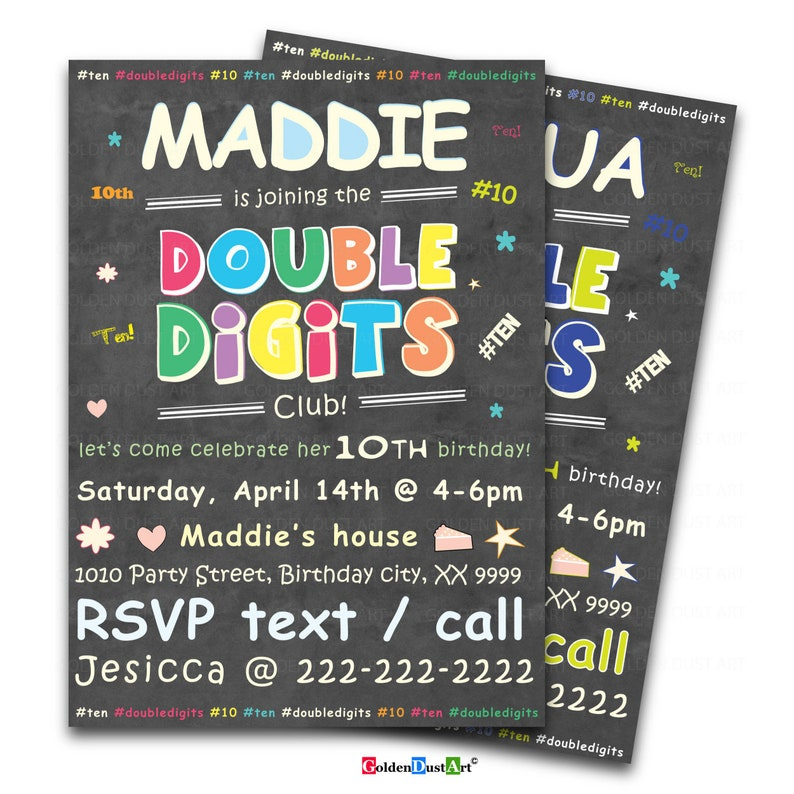 Double Digits Birthday Party Invitation 10th Invite