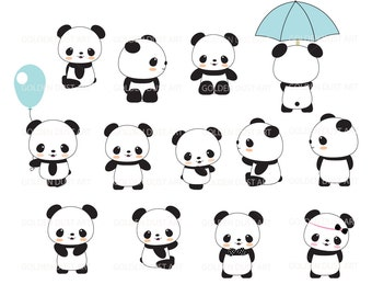 Cute Panda Clip Art, Panda Clip Art,Panda Clipart, Cute Panda Clipart, Kawaii Panda, Kawaii Clipart - pnd02