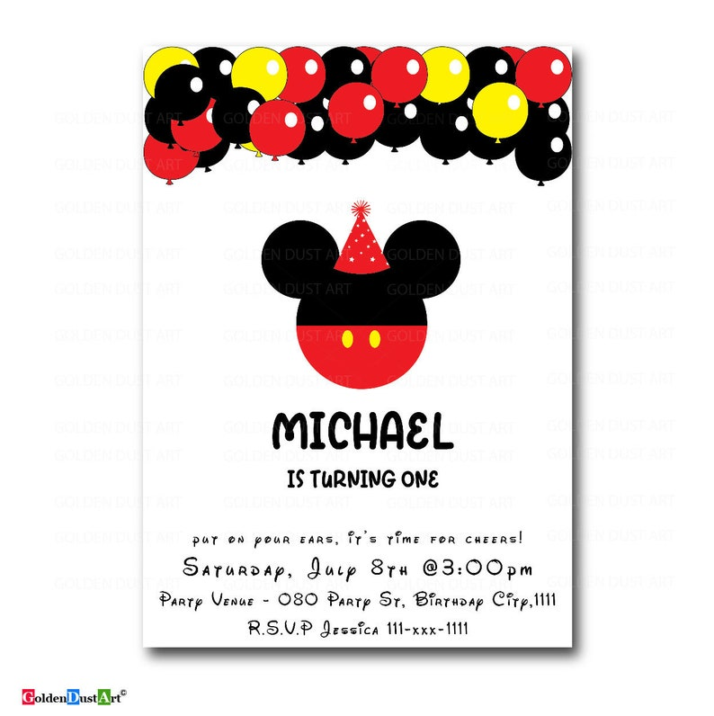 Mickey Mouse Birthday Invitation Oh Toodles And Mini I