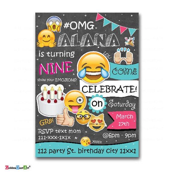 Emoji Geburtstagseinladung Tweens Geburtstag Einladen Teen Etsy