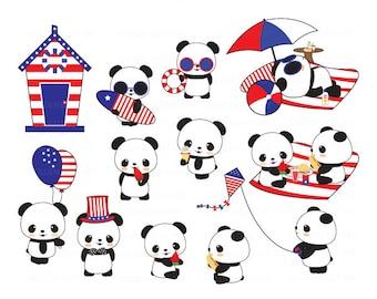 4th of July Panda, Panda Clipart, Kawaii Panda, Kawaii Clipart, Cute Panda Clip Art, Panda Clip Art, Cute Kawaii Panda