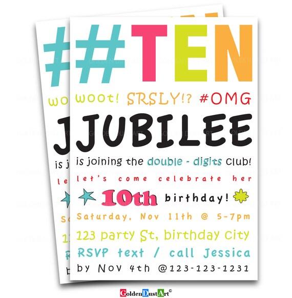Double digits birthday party invitation 10th birthday invite etsy image 0 filmwisefo