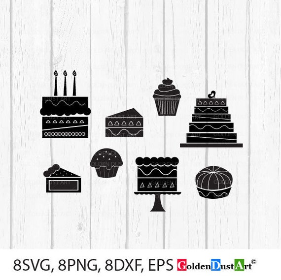 Cakes SVG, Cake Clip Art Set, Cake Vector, Cake Silhouette, Instant  Download svg, eps, png, dxf