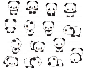 Cute Pandas Clip Art, Panda Clip Art, Panda Clipart, Cute Panda Clipart, Kawaii Panda, Kawaii Clipart - pnd01