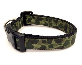 Green camo small/medium dog collar