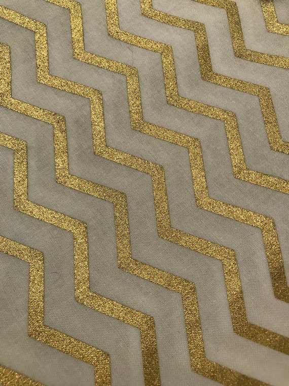 Gold and white chevron fabric | Etsy