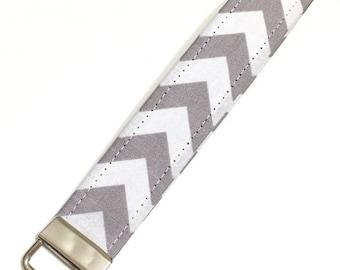 Gray and white chevron key fob keychain wristlet
