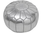 Moroccan Pouffe Pouf Ottoman Footstool in Metallic Silver Grey Faux Leather Cover Only Handmade in Morocco