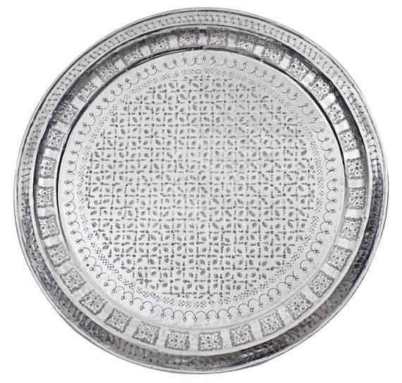 Marokkanische Vintage Aluminium Tablett Oder Tisch Mit Etsy