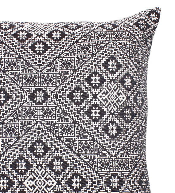 31.5/'/' x 15.75/'/' Moroccan Cushion Pillow Cover Black Handmade Double Sided Rectangular Authentic Fez Embroidered Brocade L 80cm x 40cm