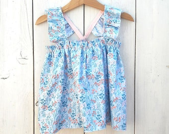 Baby printed cotton blouse, baby cotton shirt, toddler blouse, girls blouse, blouse print flowers, shirt design fabrics, newborn - size 5T