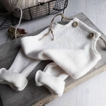 Newborn photo prop, photo session props, newborn white romper, Baby boy props, newborn knit romper, Winter romper props, photo bib shorts