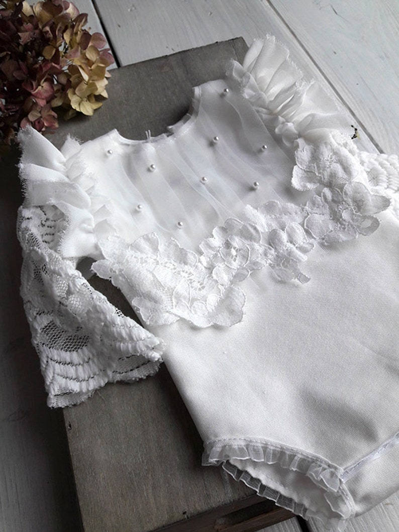 photo session props Baby lace prop Newborn photo prop photo romper dainty romper Newborn white romper lace things props Neutral