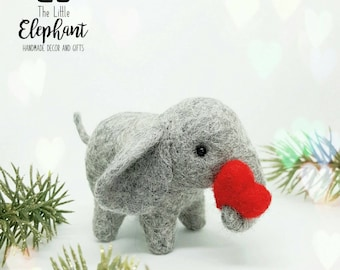 Little Elephant holding a heart, valentine's gift, Mother's day gift, teacher gift, thank you gift, for the one you love.